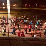 Runners outside Irish Town Stadium