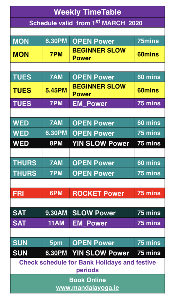 MANDALA YOGA TIMETABLE WEEKLY YOGA CLASSES DUBLIN 2 DUBLIN 4