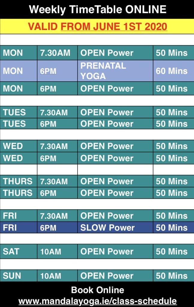 Mandala Yoga Timetable