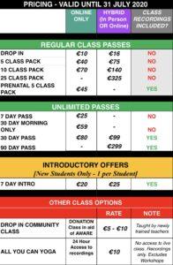 Class pricing mandala yoga