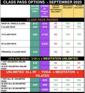 Class pricing September Mandala yoga pilates