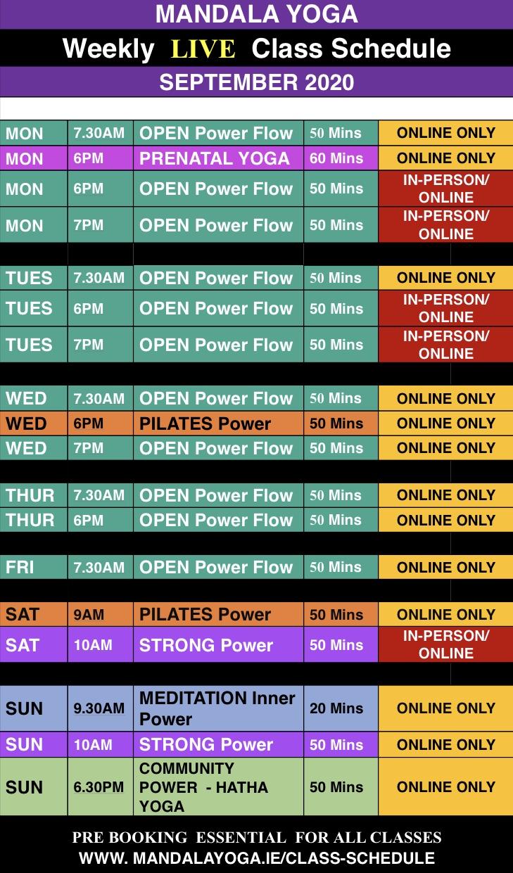 Mandala class Schedule Autumn 2020