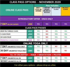 ONLINE MANDALA PRICING YOGA CLASS PASS OPTIONS