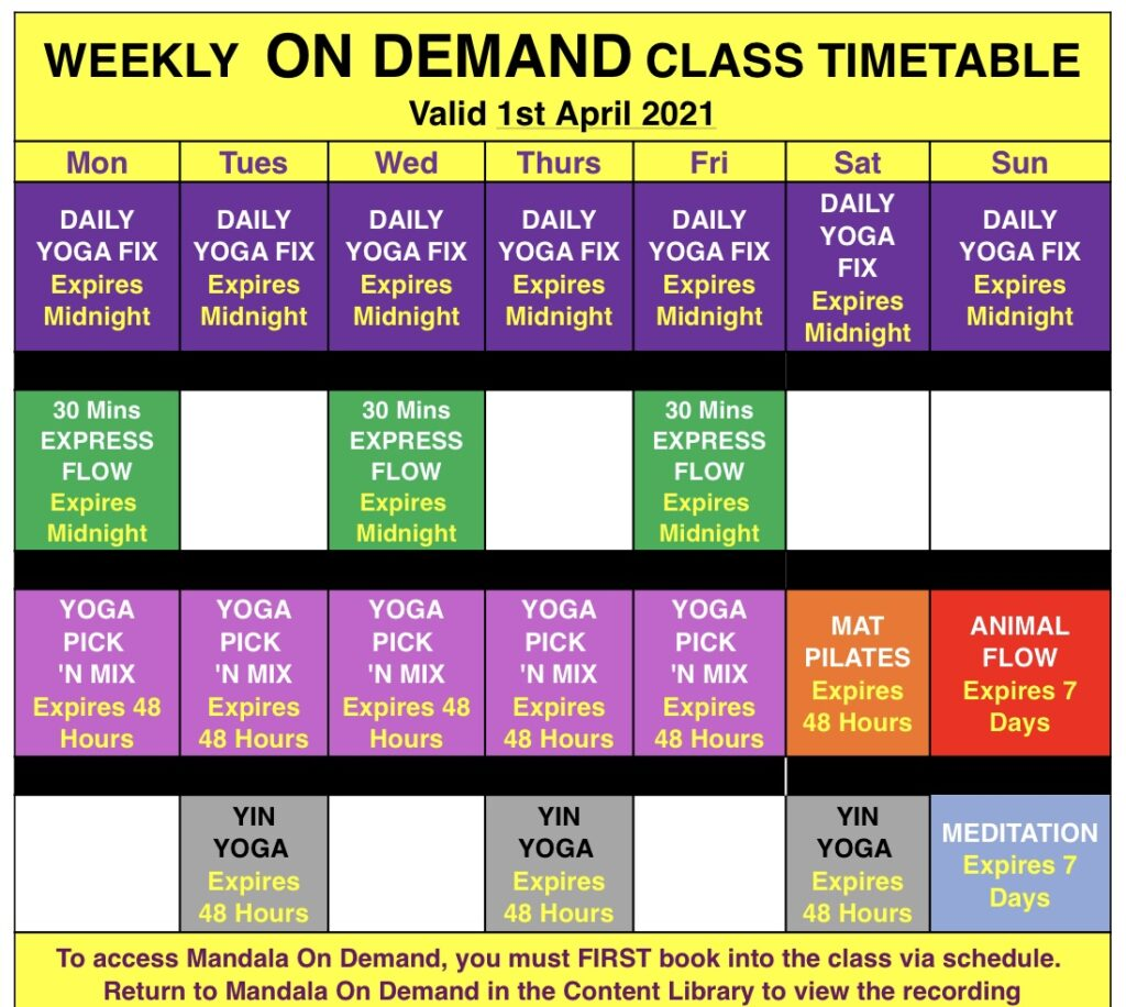 Mandala On Demand weekly classes