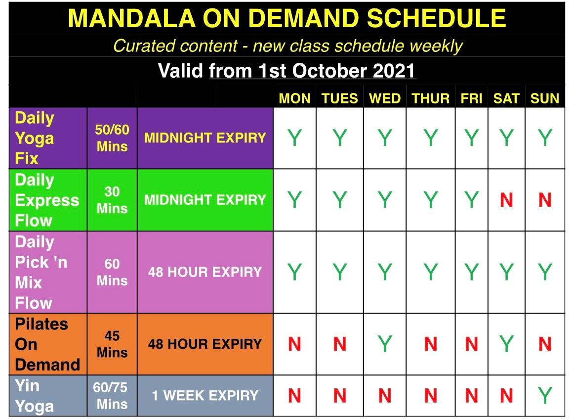 On demand class schedule mandala yoga