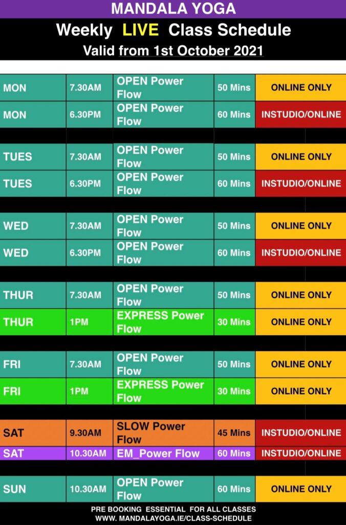 mandala yoga weekly class schedule yoga classes
